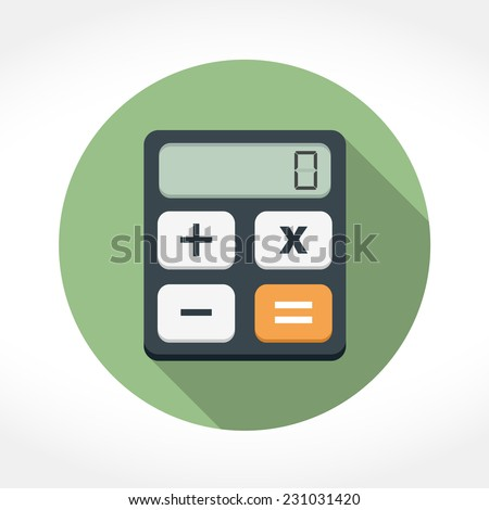 Calculator icon in circle, flat design with long shadow, vector eps10 illustration - stock vector