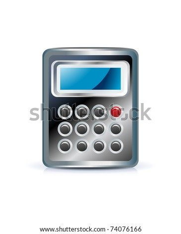 Calculator icon on white background - stock vector