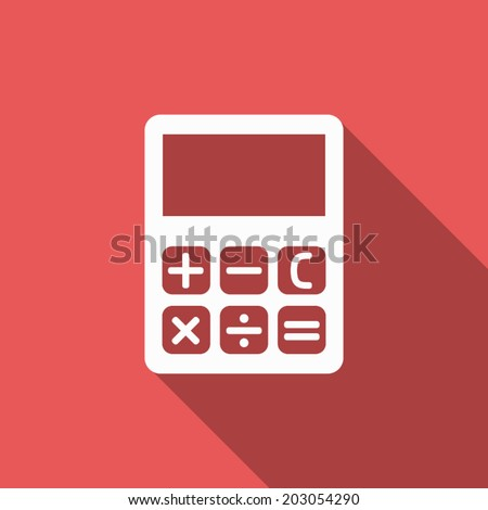 calculator icon with long shadow - stock vector