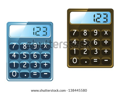 Calculator icons in glossy style isolated on white background. Jpeg (bitmap) version also available in gallery