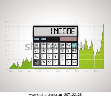Calculator - Income - stock vector