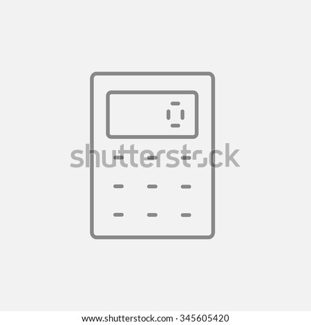 Calculator line icon for web, mobile and infographics. Vector dark grey icon isolated on light grey background.