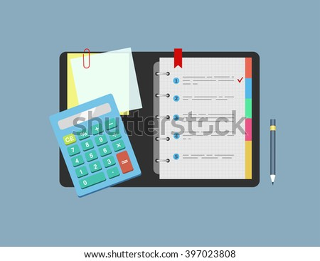 Calculator, notepad, note paper and pencil lie on the table.  Concept of planning , analysis. Vector illustration. - stock vector