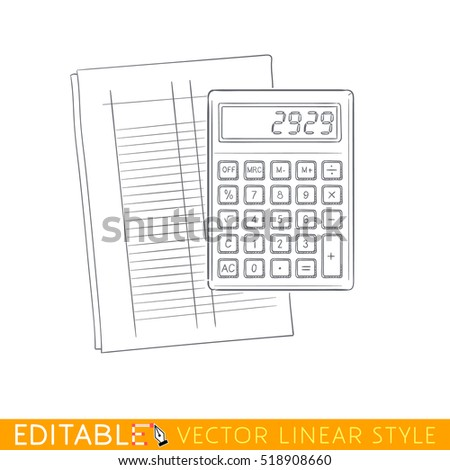 Calculator On Accounting Form Editable Outline Stock Vector