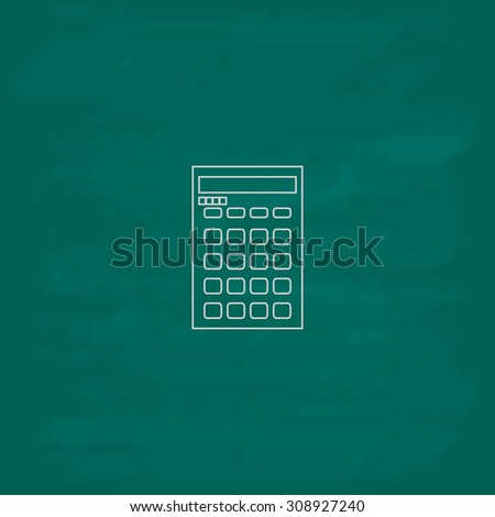 Calculator. Outline vector icon. Imitation draw with white chalk on green chalkboard. Flat Pictogram and School board background. Illustration symbol