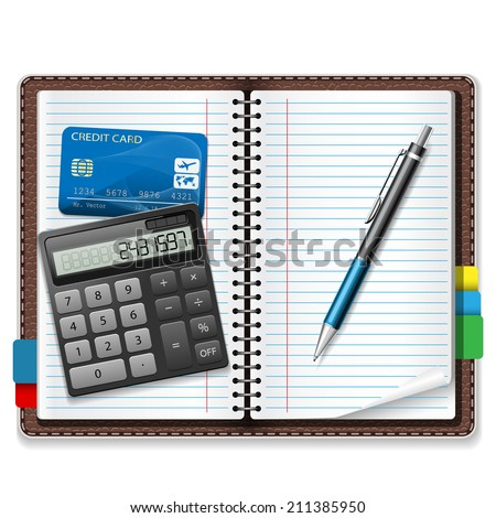 Calculator, pen, notebook, a credit card on a white background. Illustration, vector. - stock vector