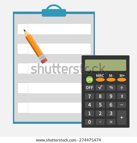 Calculator, pencil, notepad icon vector image. Flat design modern. Set for web and mobile applications of office work. Vector illustration. - stock vector