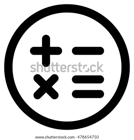 Calculator rounded icon. Vector illustration style is flat iconic symbol, black color, white background.