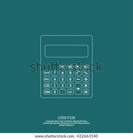 Calculator top view. Vector icon. Line art design.  - stock vector