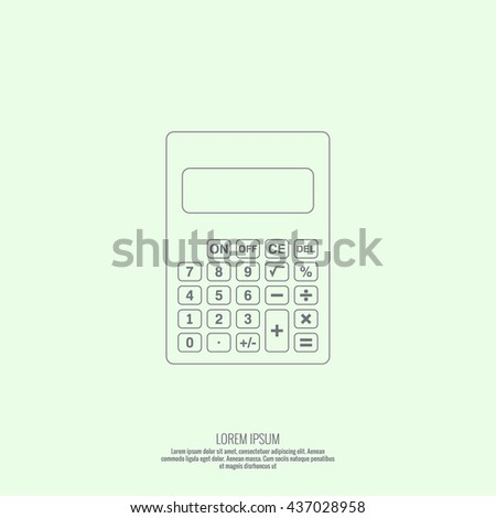 Calculator top view. Vector icon. Line art design  - stock vector