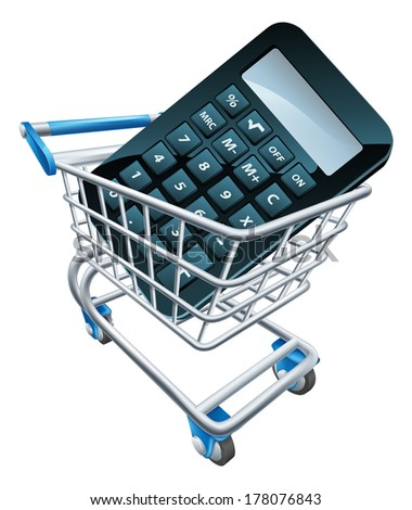 Calculator trolley concept. A calculator in a shopping trolley cart. Could be for shopping for accountant online or online math education