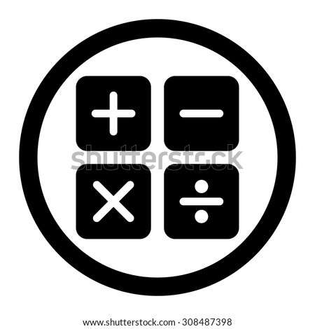Calculator vector icon. This flat rounded symbol uses black color and isolated on a white background. - stock vector