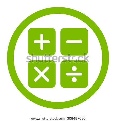 Calculator vector icon. This flat rounded symbol uses eco green color and isolated on a white background. - stock vector