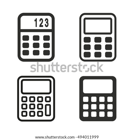 calculator vector icons set black illustration stock vector