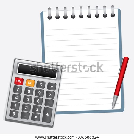 Calculator with Office book and Pen, Illustration Vector 10