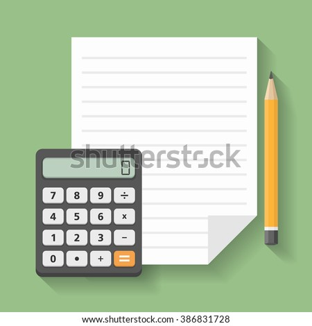 Calculator with paper and pencil, financial concept image, flat design, vector eps10 illustration