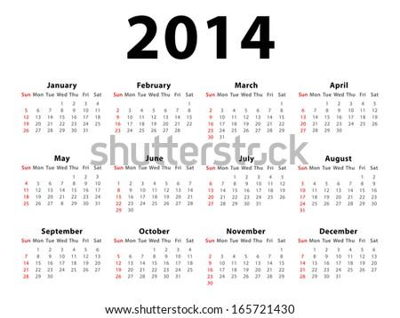 Calendar 2014 - stock vector