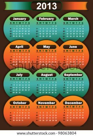Calendar 2013 - stock vector