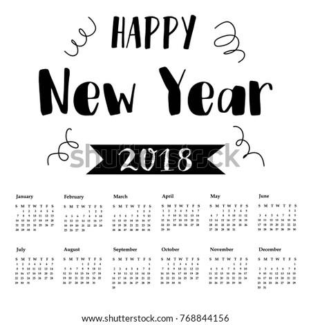 Calendar 2018 christmas card greeting postcard stock vector calendar 2018 and christmas card greeting postcard happy new year 2018 m4hsunfo