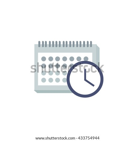 calendar and clock icon. vector illustration - stock vector