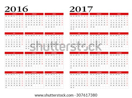 Calendar 2016 and 2017 in English
