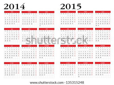 Calendar 2014 and 2015 in spanish