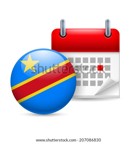 Calendar and round flag icon. National holiday in Democratic Republic of the Congo - stock vector