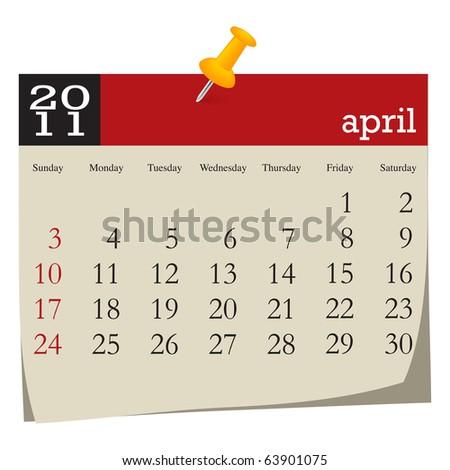 Calendar-april 2011 - stock vector