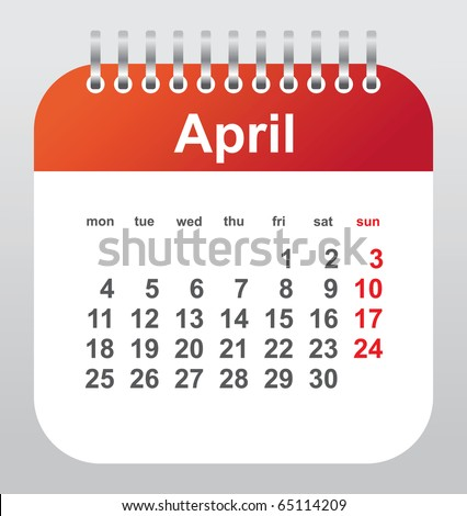 calendar 2011: april - stock vector