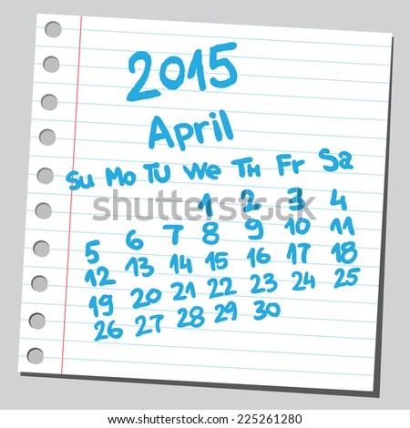 Calendar 2015 april (sketch style)  - stock vector