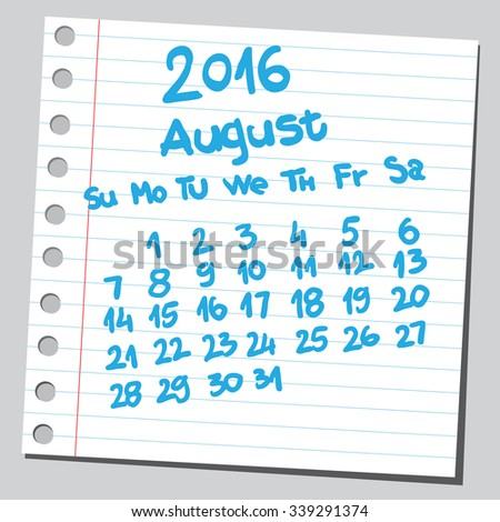 Calendar 2016 august (sketch style)  - stock vector