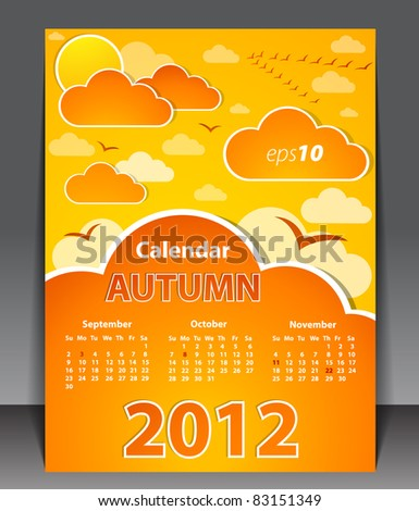 Calendar 2012 - Autumn - stock vector