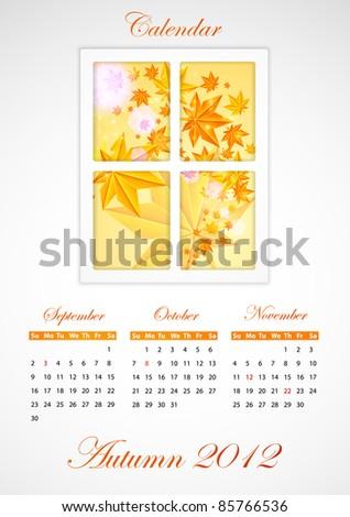 Calendar. Autumn 2012 - stock vector