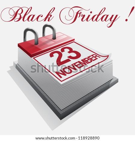 calendar Black friday - stock vector