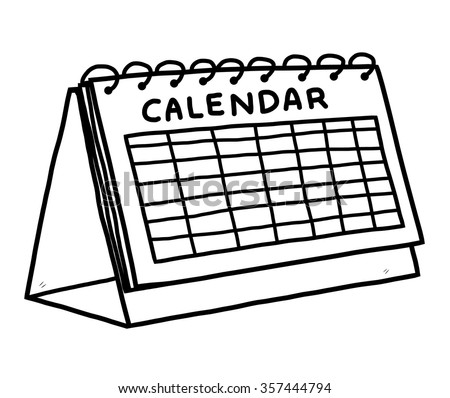 calendar / cartoon vector and illustration, black and white, hand drawn, sketch style, isolated on white background. - stock vector