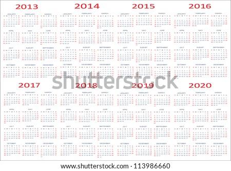 calendar classic templates for years 2013 - 2020, easy editable, weeks start on Sunday - stock vector