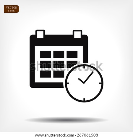 calendar & clock icon. Vector  Eps 10  - stock vector