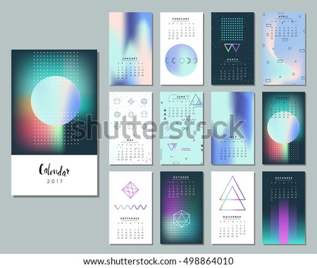 Beautiful Calendar 2017. Collection Of Northern Lights. Bright Cosmos Backgrounds,  Set Of Neon Space Great Pictures