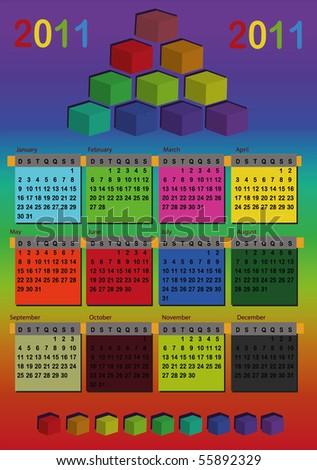 calendar 2011 color - stock vector
