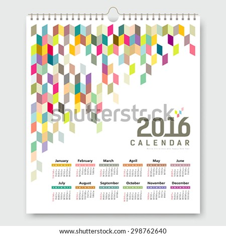 Calendar 2016, colorful geometric design background, vector illustration - stock vector