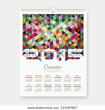Calendar 2015, colorful triangle geometric template design background, vector illustration