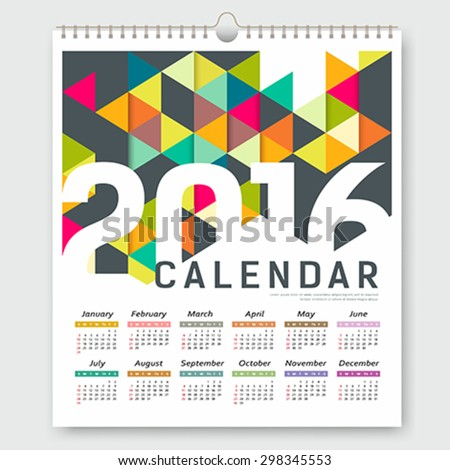 Calendar 2016, colorful triangle geometric template design background, vector illustration