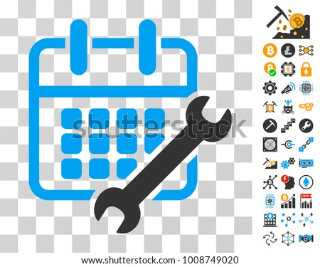 Calendar Configure pictograph with bonus bitcoin mining and blockchain clip art. Vector illustration style is flat iconic symbols. Designed for cryptocurrency software.