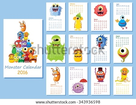 Calendar 2016. Cute monsters for every month. Vector. Isolated. - stock vector