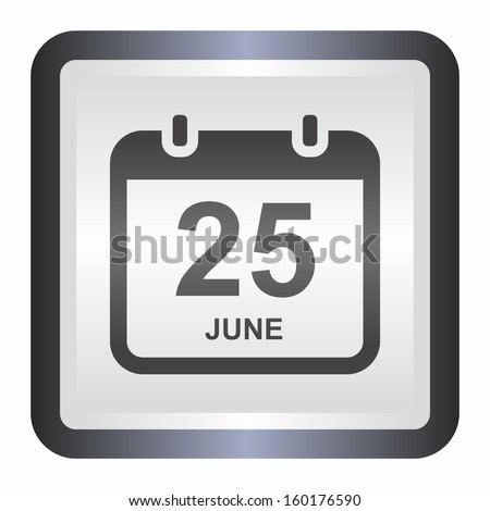 Calendar date (elegance silver button, black version) - stock vector