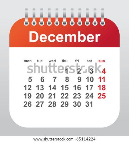 calendar 2011: december - stock vector