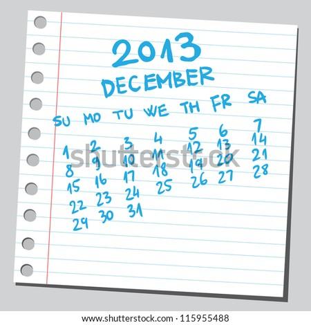 Calendar 2013 december (sketch style) - stock vector