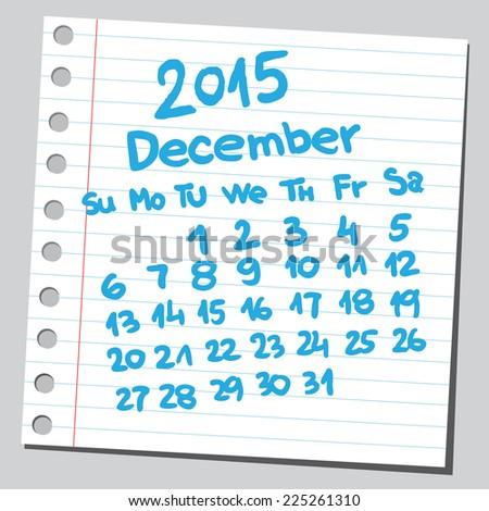 Calendar 2015 december (sketch style)  - stock vector