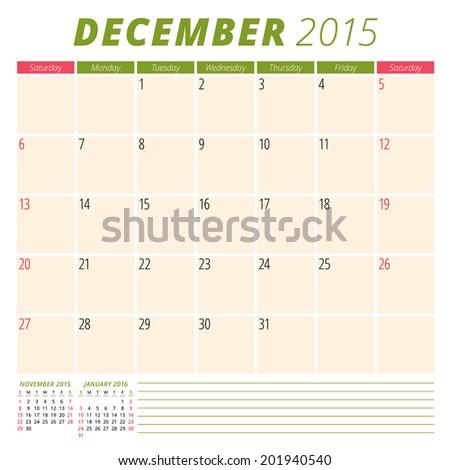 Calendar 2015 December US version vector design template  - stock vector