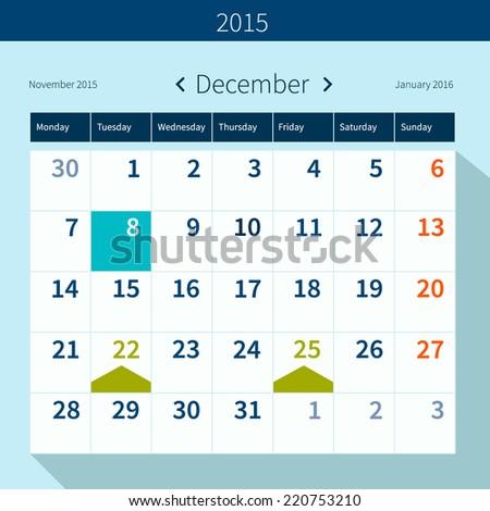 Calendar December 2015 vector design template - stock vector
